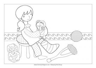 little girl needs first aid colouring page