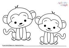 monkey colouring pages