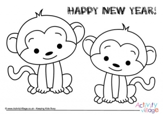 year of the monkey colouring pages