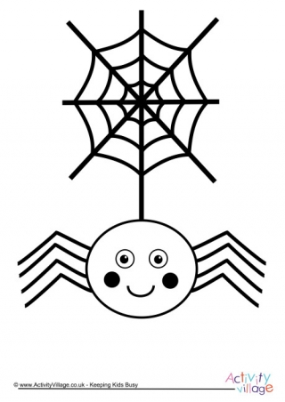 spider and web colouring page