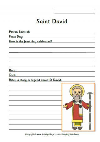 Saint David Worksheets