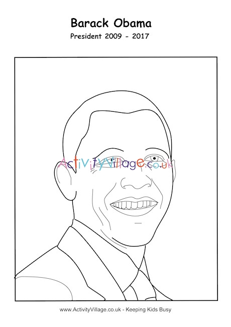 barack obama coloring page # 16