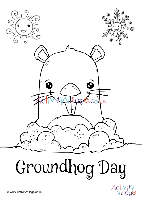 Groundhog Day Colouring Page 2