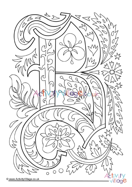letter b coloring page # 64
