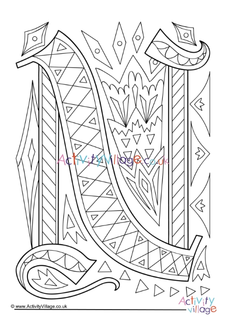 illuminated letter n colouring page