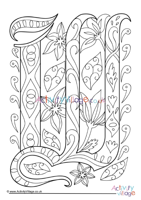 Illuminated Letter W Colouring Page