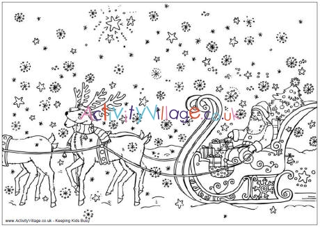 santa sleigh coloring page # 66