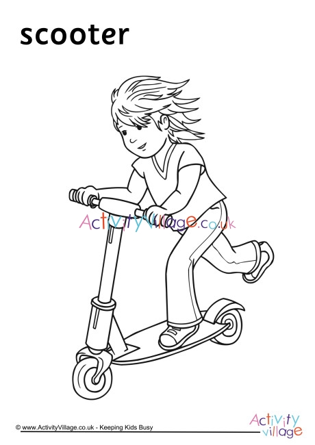 Scooter Colouring Page