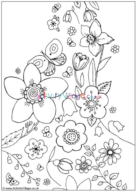 Spring Flowers Colouring Page