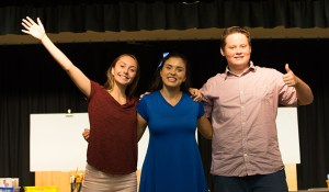 Photo of Theatre of Peace actors playing characters Caroline, Scarlett, and Brandon from Baffle That Bully! LIVE - Interactive Stage Play for K-3rd. Teaching tools to help you build confidence, stand up for yourself and others, and take back control of your life and happiness!