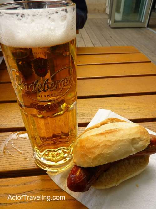 Beer and German hot dog