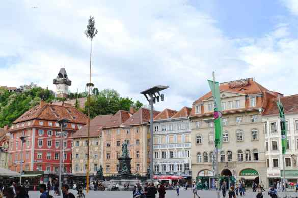 Graz main square clock tower