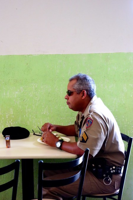 Policeman having lunch in Brazil