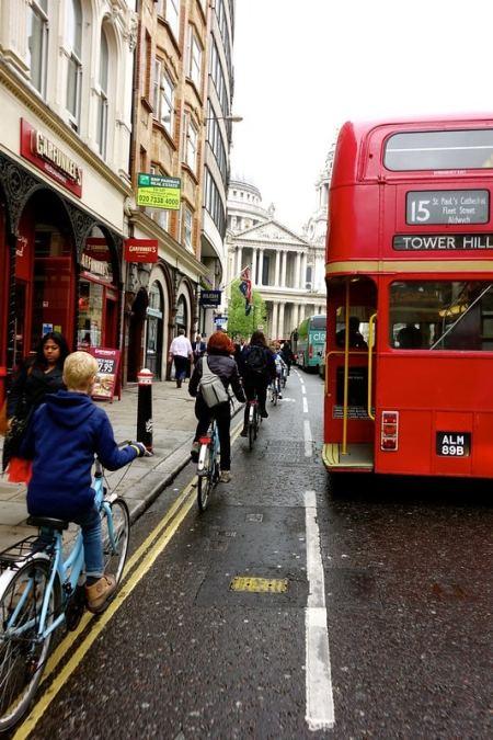 On a bike in London