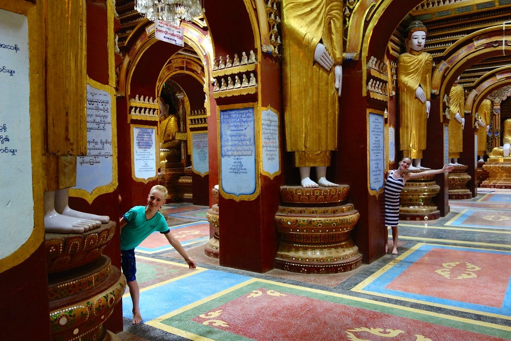 Kids playing in Buddha temple