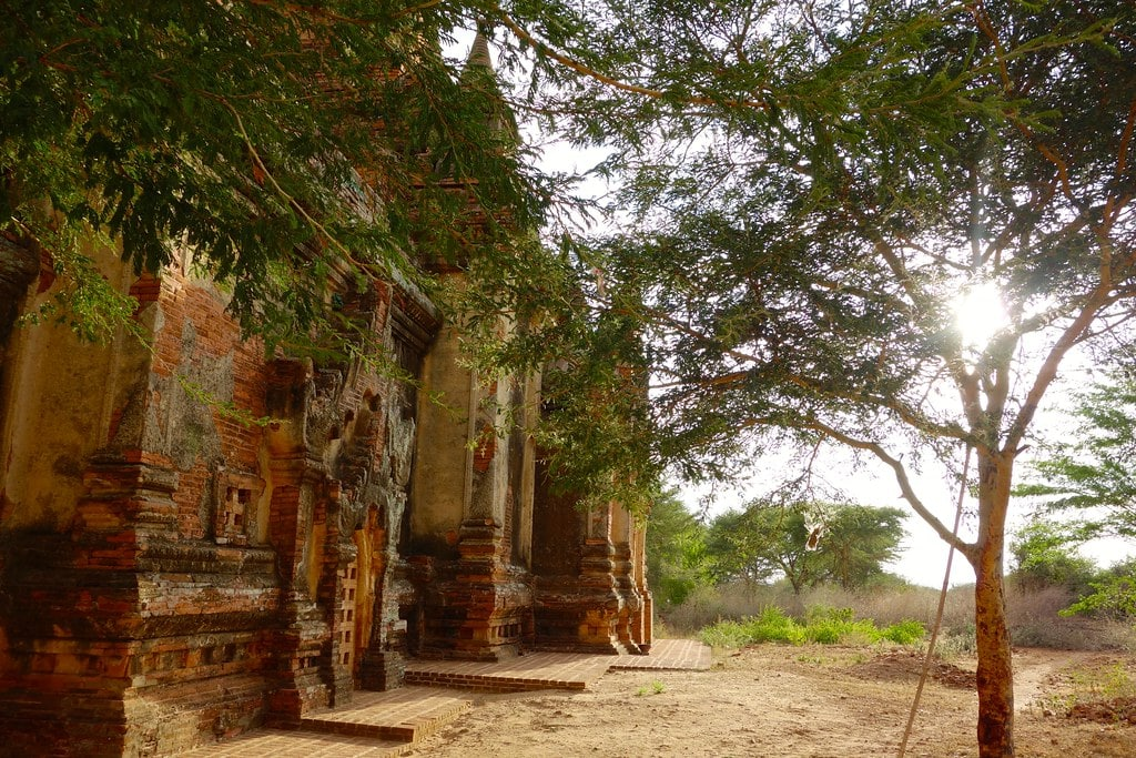 Sunlight shines on one of Bagan temples