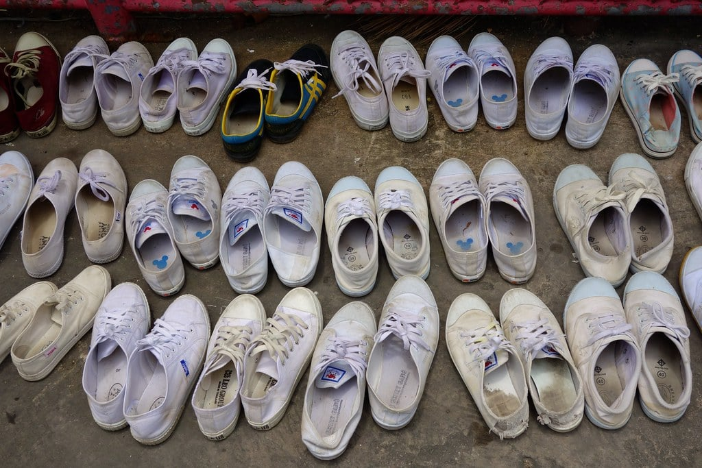 Shoes in front of temple