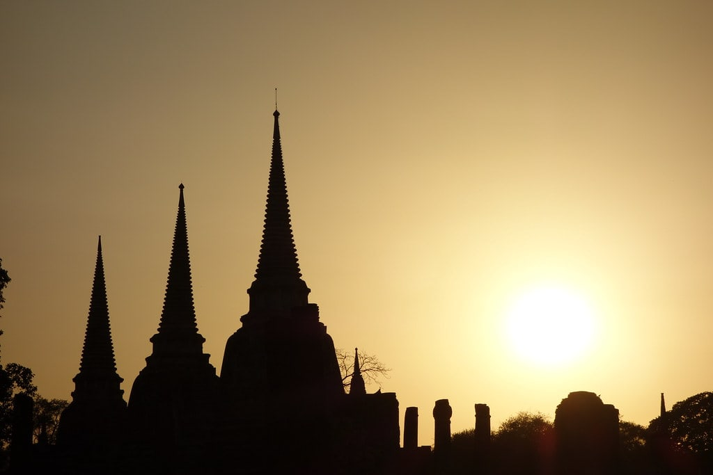 Sunset with Thai temples