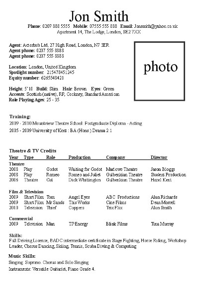 Fake Resume Example. How To Write An Actor S Cv Actor Hub Uk Actor