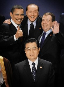 Barack Obama, Silvio Berlusconi, Dmitri Medvédev y Hu Jintao (foto: Reuters)