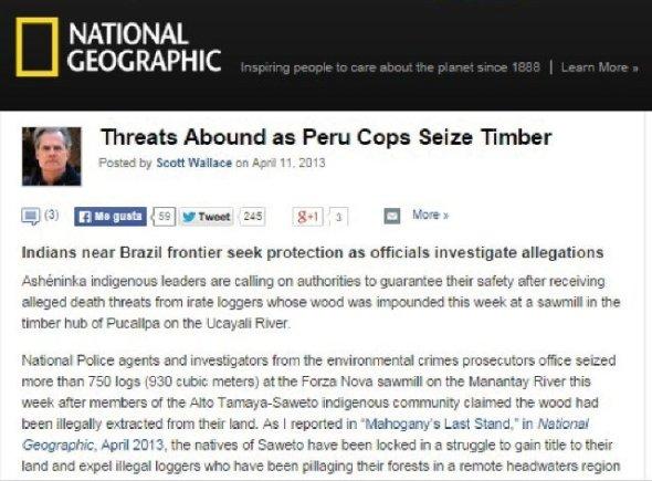 denuncia de la national geographic sobre amenazas