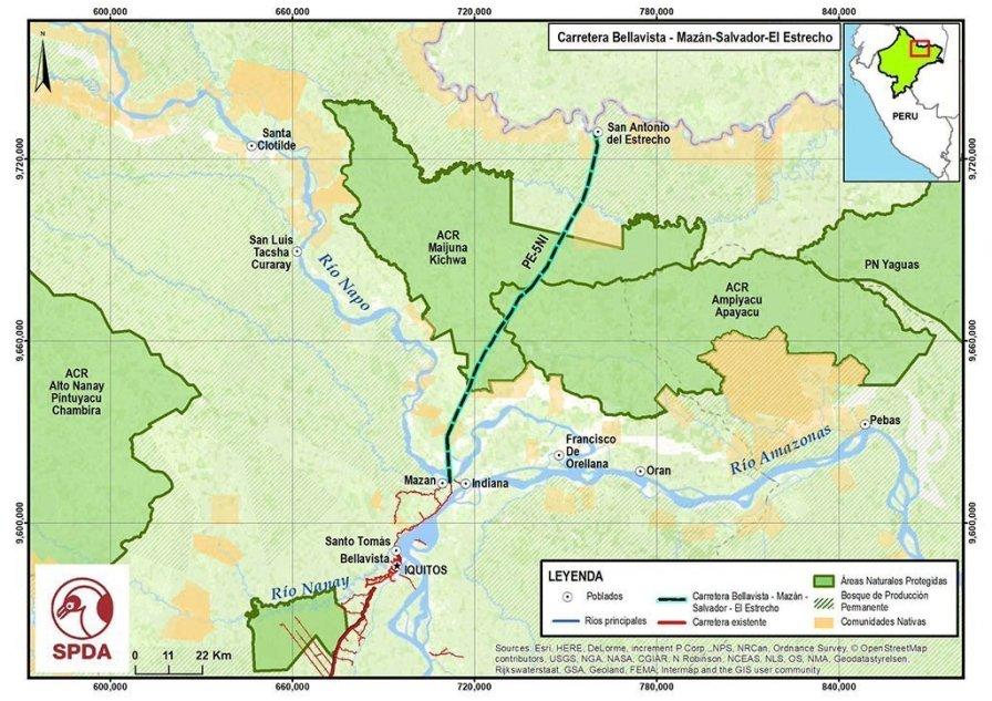 15.- Más allá de los problemas ocasionados ya en este punto inicial, el trazo de la carretera podría atravesar territorio de pueblos indígenas y de las áreas naturales protegidas (las áreas de conservación regional Maijuna Kichwa y Ampiyacu Apayacu).