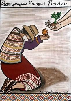 """Obra """"Qampapes Kanqan Punchau"""" de la artista Violeta Quispe."""