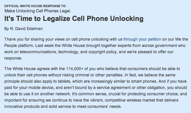 Screen Shot 2013 03 04 at 5.13.15 PM Es lógico que el consumidor pueda liberar su teléfono, la Casa Blanca