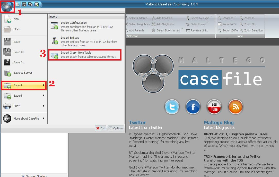 Importer des données Maltego CaseFile