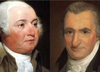 Retratos de John Adams y Thomas Paine.