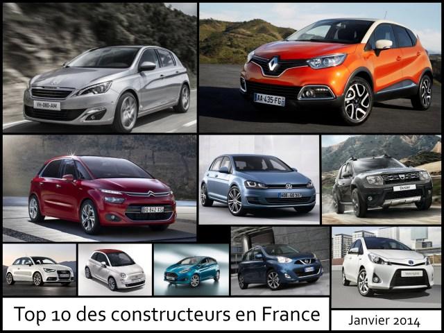 Top 10 des constructeurs en France - Janvier 2014