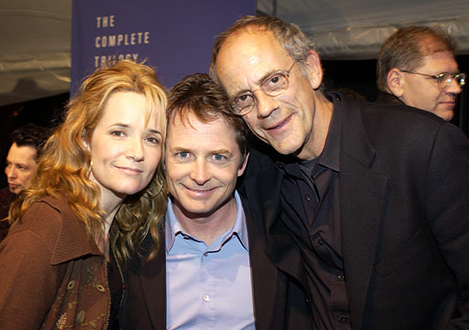 "Lea Thompson, Michael J. Fox, Christopher Lloyd Universal Studios Home Video hosted a ""Back To The Future"" reunion party to celebrate the launch of the trilogy on DVD December 17th ""Back To The Future"" Reunion and DVD Launch Party Universal Backlot Universal City, California USA December 16, 2002 Photo by Lester Cohen/WireImage.com To license this image (792098), contact WireImage: U.S. +1-212-686-8900 / U.K. +44-207 659 2815 / Australia +61-2-8262-9222 / Japan: +81-3-5464-7020 +1 212-686-8901 (fax) info@wireimage.com (e-mail) www.wireimage.com (web site)"