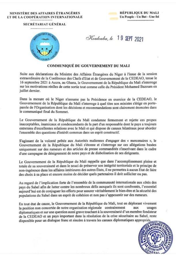 Communique affaire etrangere Mali