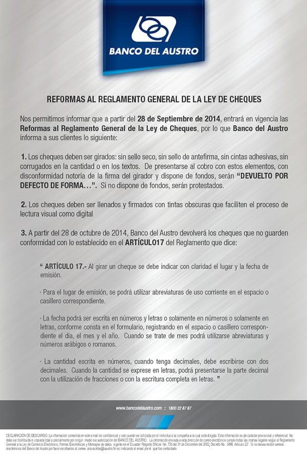 Nuevo Reglamento Ley de Chques; Vía: Banco del Austro.
