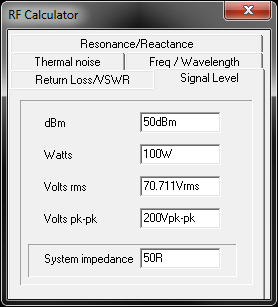 RFSim99's built in RF calculator.