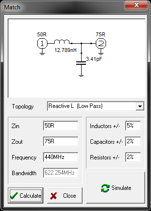RFSim99's built-in LC match calculator.