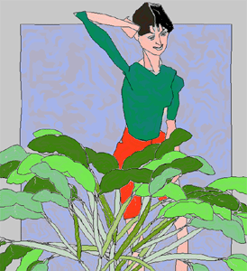 A computer-generated picture of a woman with a hand to her head standing behind a lush, leafy green plant. The background is mottled and blue.