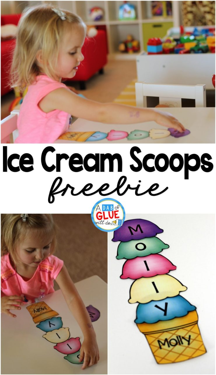 The Name Game Activity Ice Cream Scoops Freebie is the perfect option for helping kids learn to spell their own name!  Grab our free printable option here!