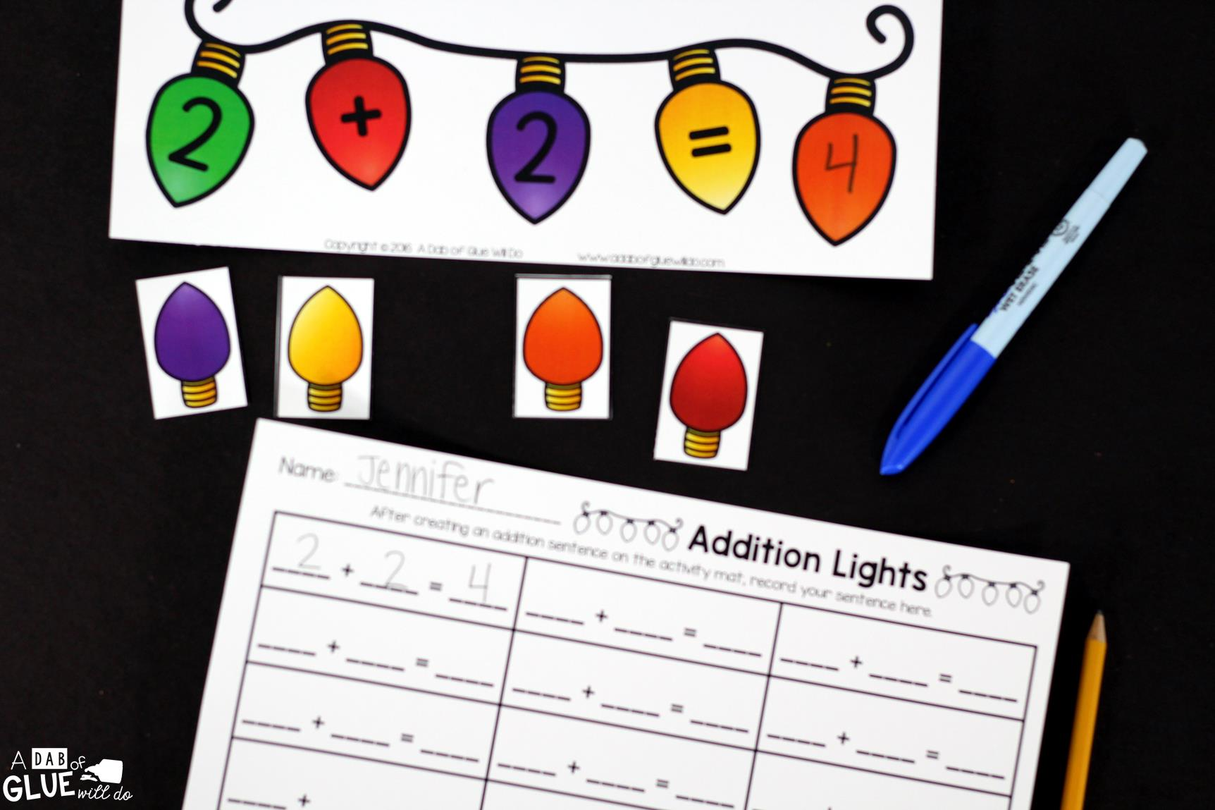 Christmas Lights Addition Printable Math Worksheets
