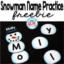 Snowman Names – Name Building Practice Printable