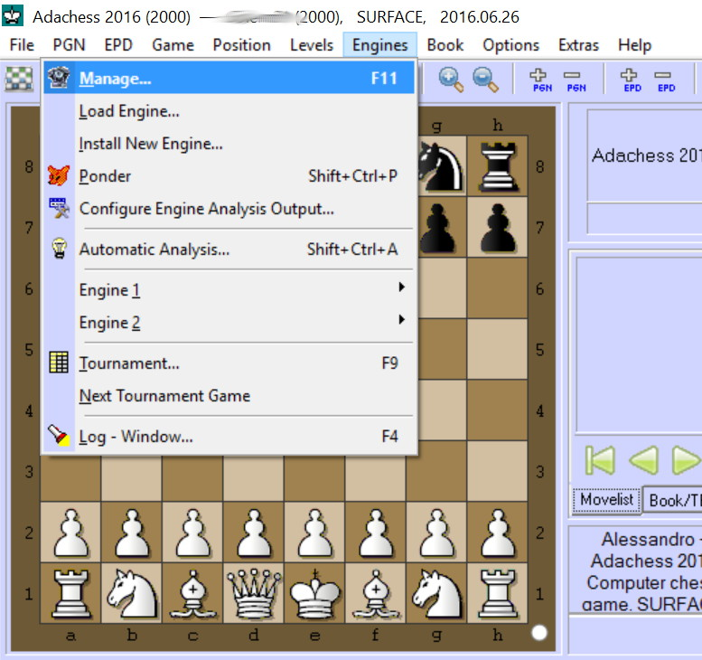Configure Arena to play with AdaChess – AdaChess