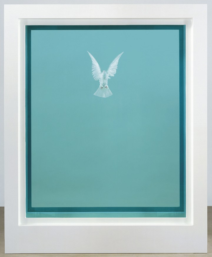 Damien Hirst (b. 1965), The Incomplete Truth, glass, painted aluminium, silicone, acrylic, stainless steel, dove and formaldehyde solution, 87 ⅜ x 69 ¼ x 29 ⅛ in. (222 x 176 x 74cm.). Executed in 2006, this work is number two from an edition of three plus one artist's proof and one Hors de Commerce. Estimate: £1,000,000-1,500,000. Price realised GBP 911,250 © Christie's Images Limited 2019