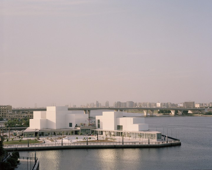 View of the peninsular site and surrounding waterfront promenade. Photo credit Rory Gardiner. Courtesy of Jameel Arts Centre, Dubai