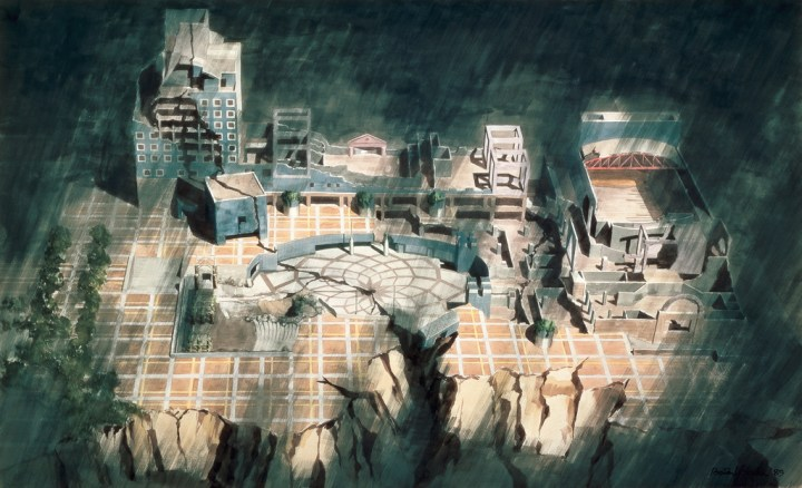Arata Isozaki, tsukuba center building(1983), watercolor