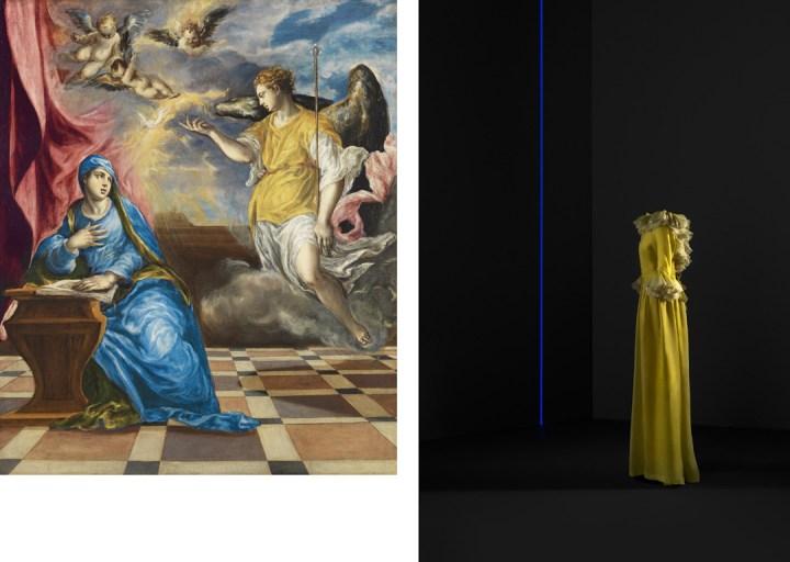 A sinistra: El Greco, Anunciación, 1576 circa, olio su tela, 117 x 98 cm, Museo Nacional Thyssen-Bornemisza, Madrid. A destra: Abito da sera, 1968, organza di seta, Collezione di Dominique Sirop, Parigi © Jon Cazenave