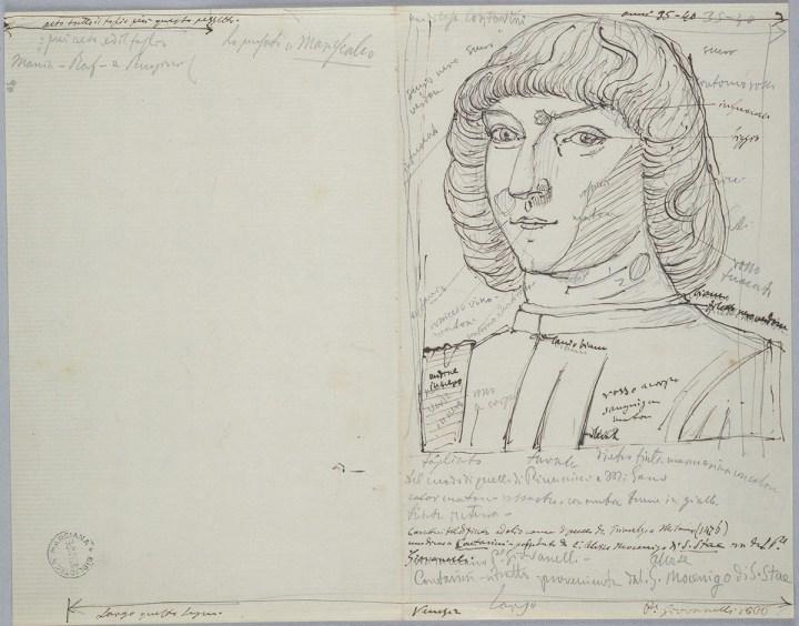 Giovan Battista Cavalcaselle, Ritratto d'uomo Washington, da Antonello da Messina, 21 x 26,9 cm. Biblioteca Nazionale Marciana, Venezia