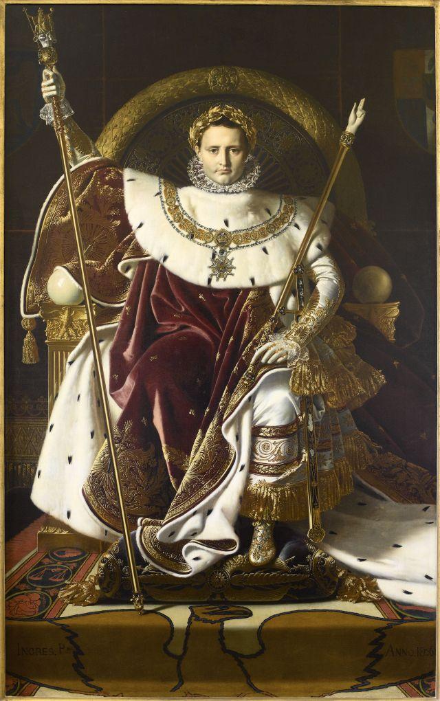 J.A.D. Ingres, Napoleone sul trono imperiale, 1806, Olio su tela, 260 x 163 cm. © Paris - Musée de l'Armée, Dist. RMN-Grand Palais / Emilie Cambier