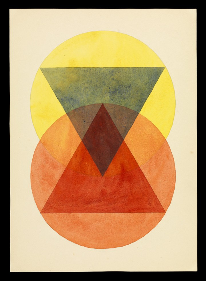 Léna Bergner (German, 1906–1981), Durchdringung (Penetration) for Paul Klee's Course, ca. 1925–1932. Watercolor and graphite on paper, Getty Research Institute, Los Angeles (850514) ©Heike Sobotta, Sylvia Greiner, Hannes Bergner, Pierre Meyer, and Anna Aniceto