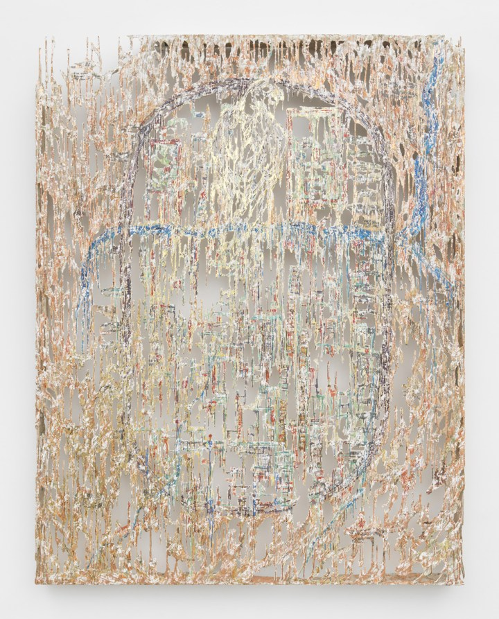 Diana Al-Hadid, The Falcon and The Bandit, 2017, Polymer gypsum, fiberglass, steel, plaster, copper leaf, gold leaf, painter's tape and pigment, 274.3 x 213.4 x 14 cm. Art Jameel Collection. Image courtesy of the artist and Marianne Boesky Gallery