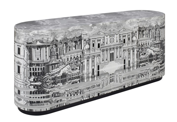 "Buffet ""Città che si rispecchia"" (Reflecting city), 2018. Wood. Printed and lacquered by hand. Cm 180 x 45 x 75h. Courtesy Fornasetti"
